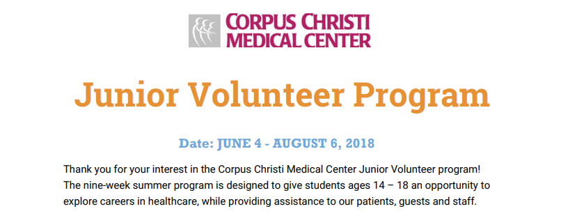 JUNE 4 - AUGUST 6, 2018- A nine-week summer program for students ages 14 – 18.